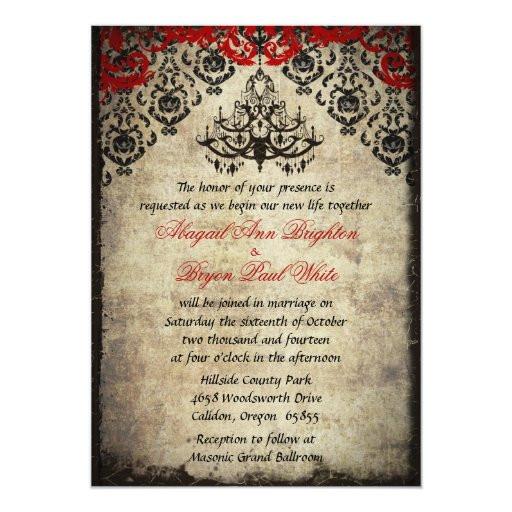 Chandelier Wedding Invitations  Red Vintage Chandelier Wedding Invitation