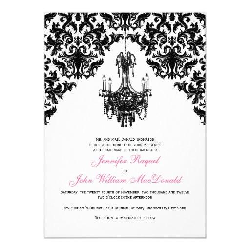 Chandelier Wedding Invitations  Black White Damask Chandelier Wedding Invitation