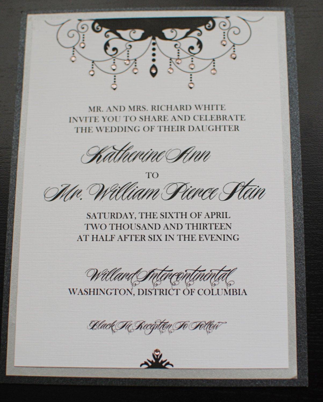 Chandelier Wedding Invitations  Black Tie Silver Chandelier Wedding Invitations PRINTABLE