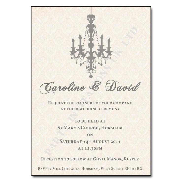 Chandelier Wedding Invitations  Vintage Chandelier Wedding Invitation