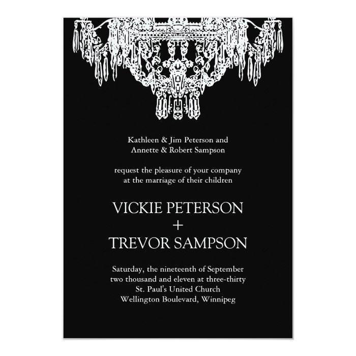 Chandelier Wedding Invitations  Black and White Chandelier Wedding Invitations