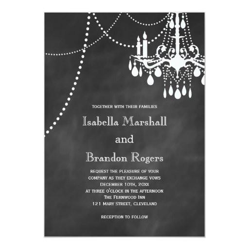 Chandelier Wedding Invitations  Chandelier Chalkboard Wedding Invitation