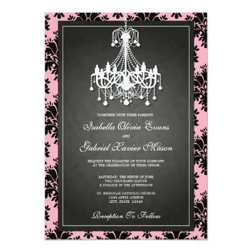 Chandelier Wedding Invitations  5x7 Black & Pink Chandelier Wedding Invitation