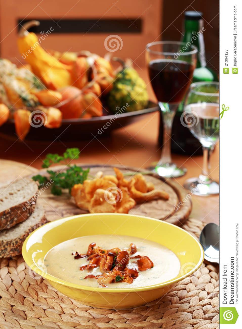 Chanterelle Mushrooms Soup  Cream Chanterelle Mushroom Soup Stock Image Image of