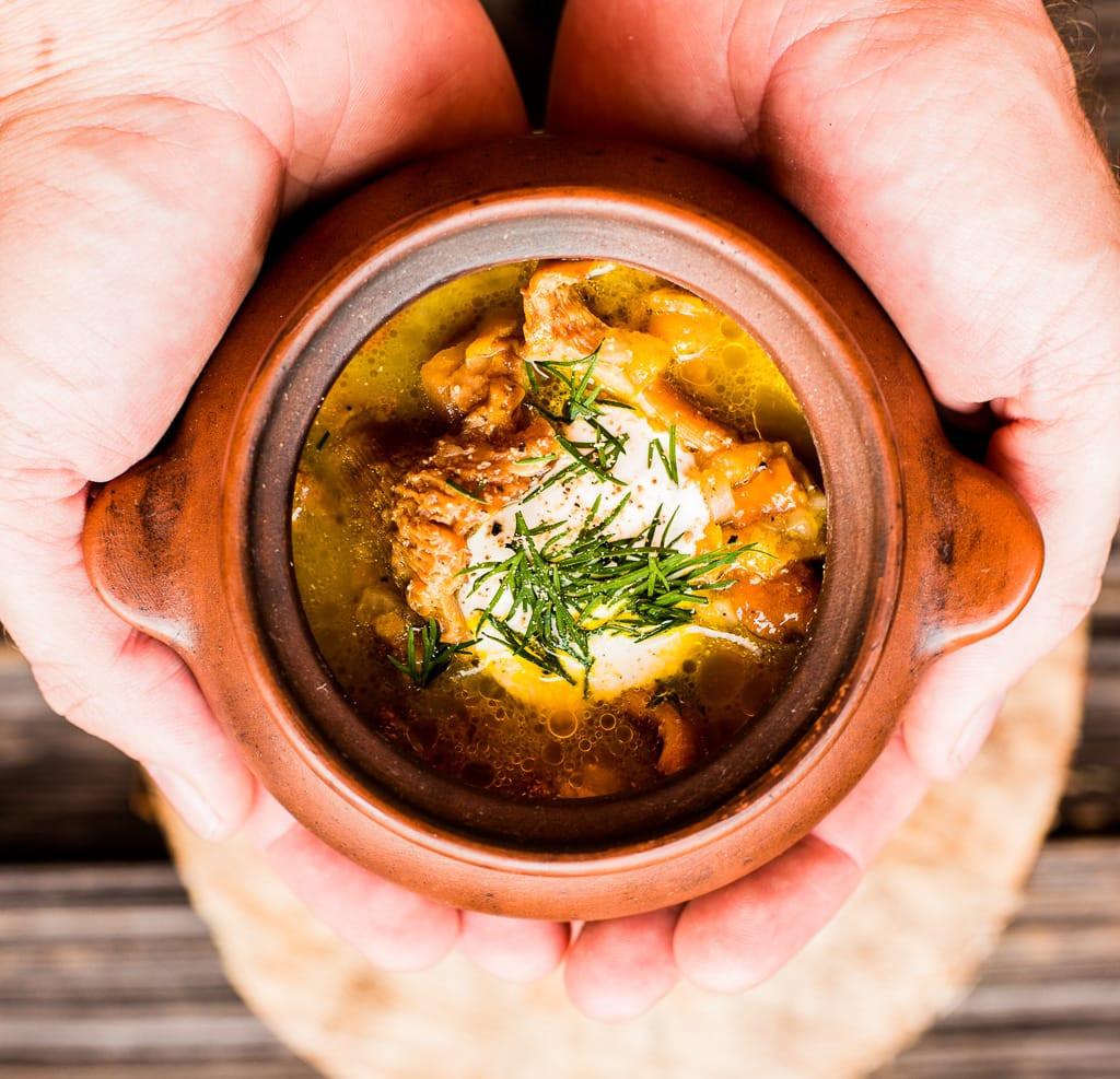 Chanterelle Mushrooms Soup  chanterelle mushroom soup PantsDownAprons