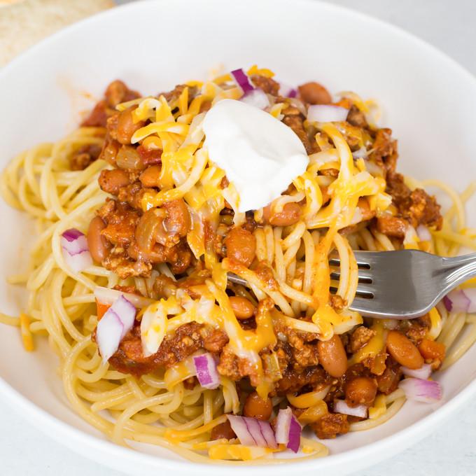 Chili On Spaghetti  Turkey Chili Spaghetti Joy in Every Season