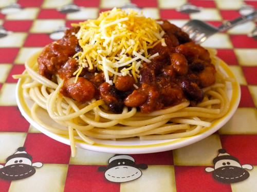 Chili On Spaghetti  Four Bean Chili Spaghetti