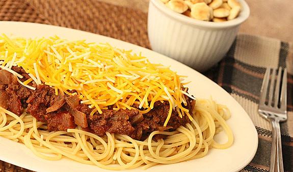 Chili On Spaghetti  Cincinnati Chili with Spaghetti and Cheddar Cheese