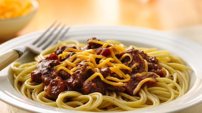 Chili On Spaghetti  Slow Cooker Chili Over Spaghetti Recipe Pillsbury