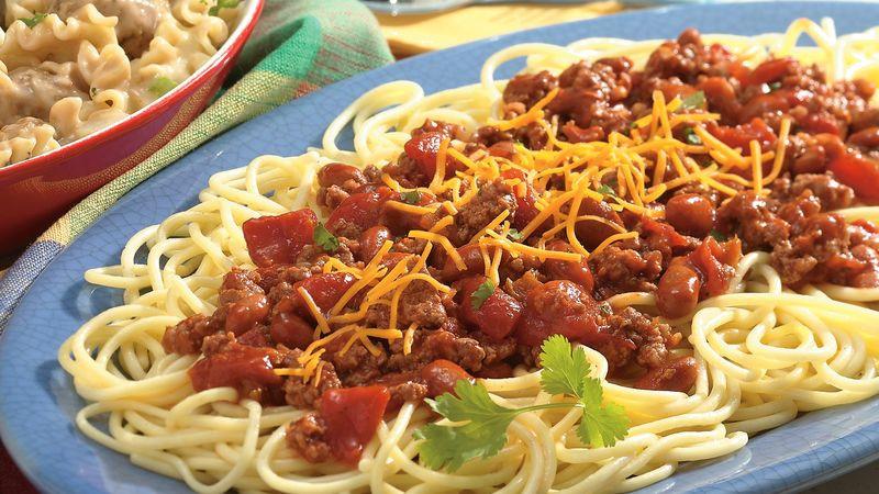 Chili On Spaghetti  Chili Spaghetti Recipe BettyCrocker