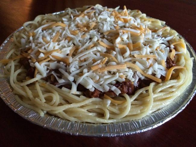 Chili On Spaghetti  Cincinnati Chili Spaghetti Pie The Little Things Journal
