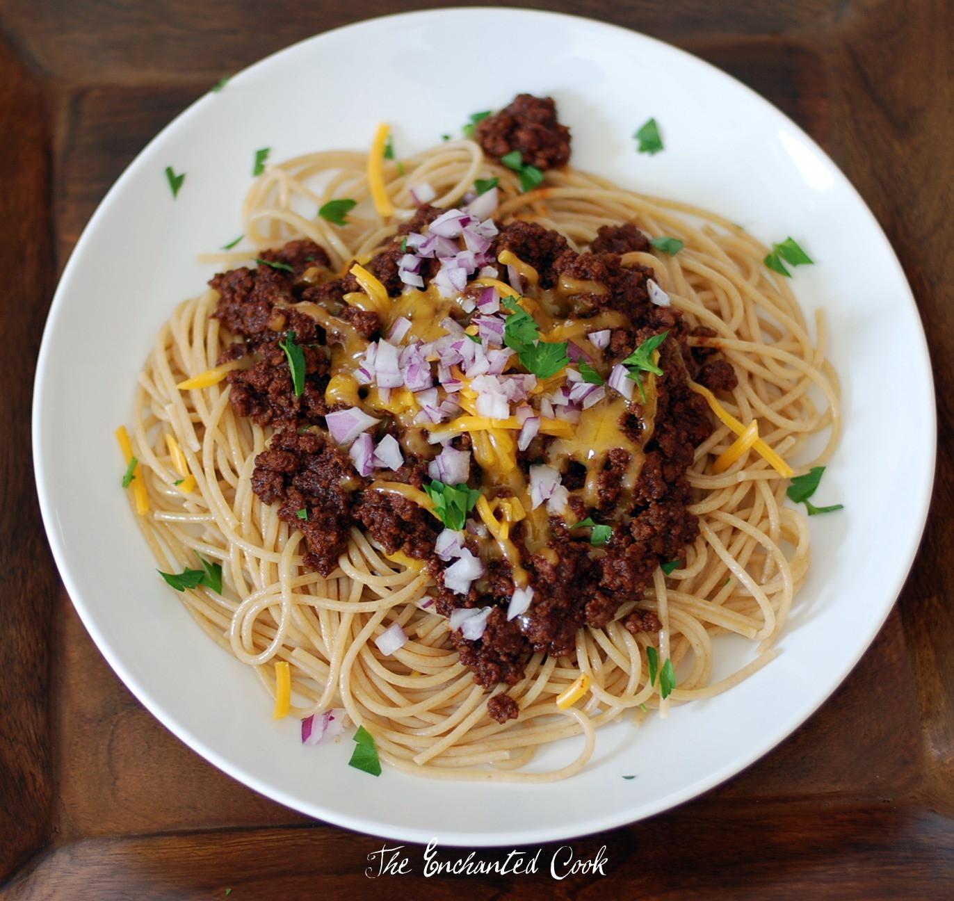 Chili On Spaghetti  The Enchanted Cook Beer Chili Spaghetti