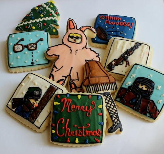 Christmas Story Leg Lamp Cookies  Christmas Tale Bunny Pajamas Leg Lamp Sugar Cookies with