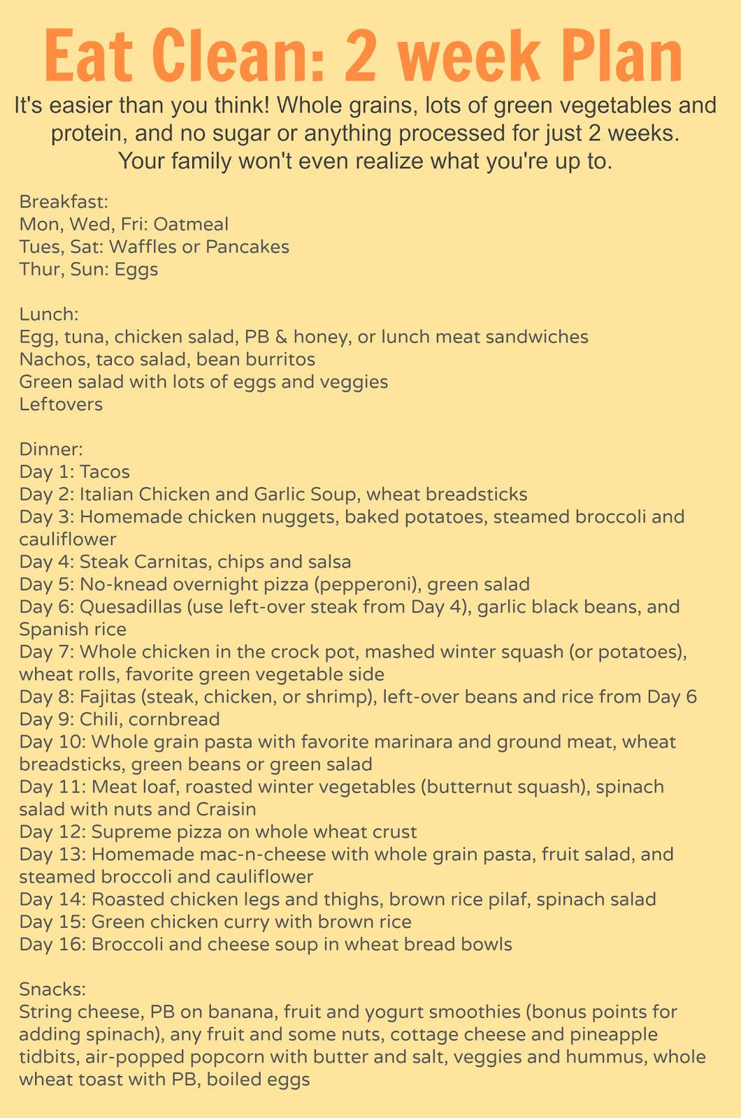 Clean Eating Meal Plans On A Budget  eating clean meal plan Bless This Mess