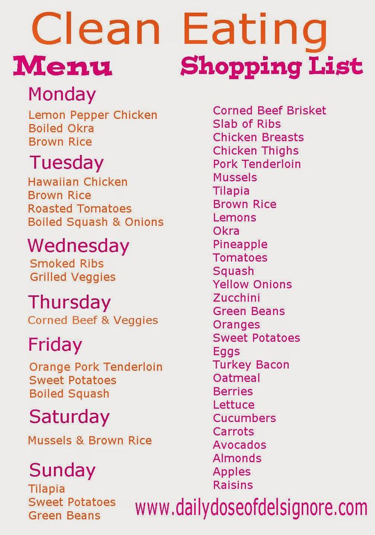 Clean Eating Meal Plans On A Budget  Eat Clean on a Bud Menu and Shopping List paleo t on