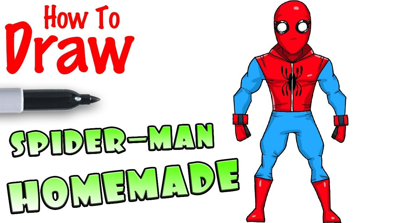 Cool Kids Art  How to Draw Spider man Homemade Suit