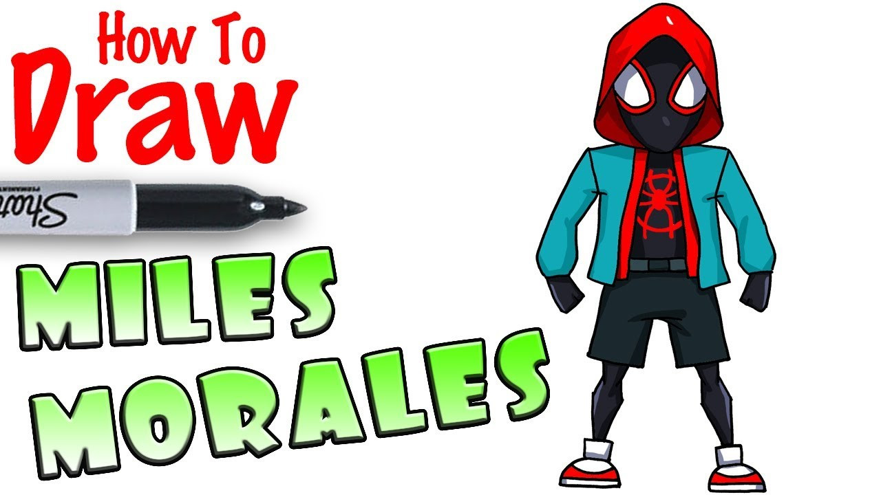 Cool Kids Art  How to Draw Miles Morales with Hoo