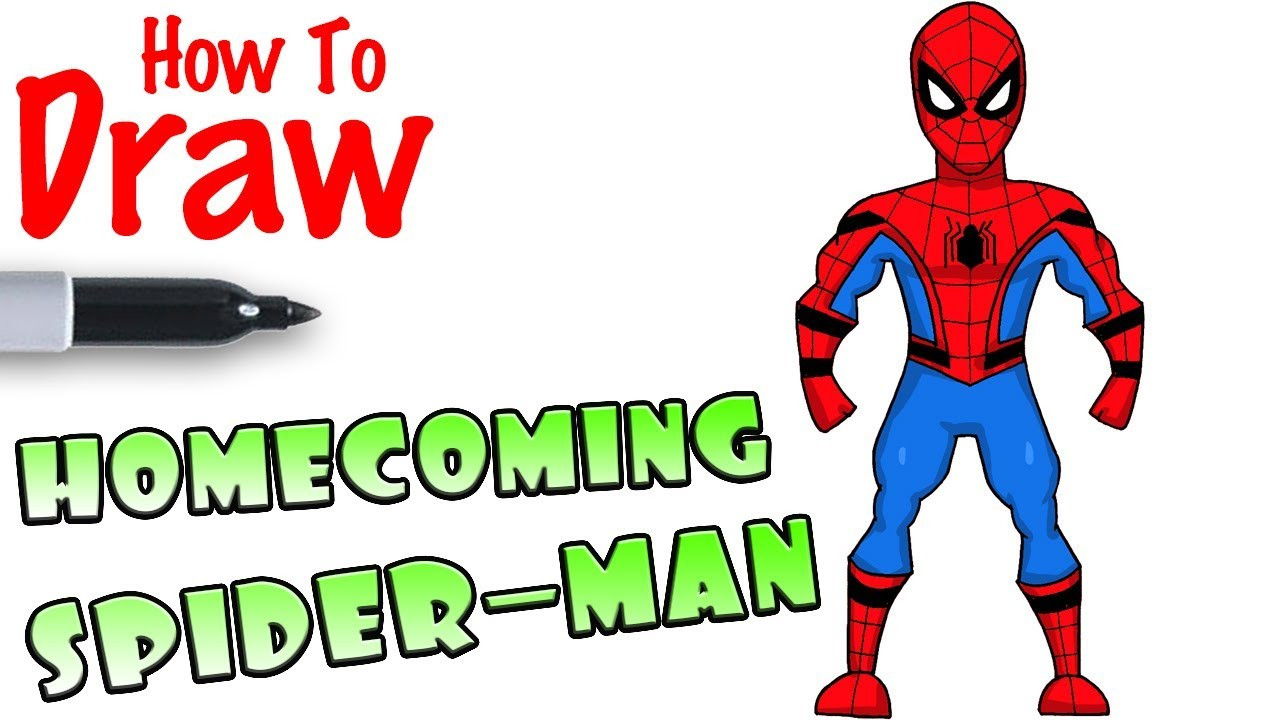 Cool Kids Art  How to Draw Spider Man Home ing Stark Suit