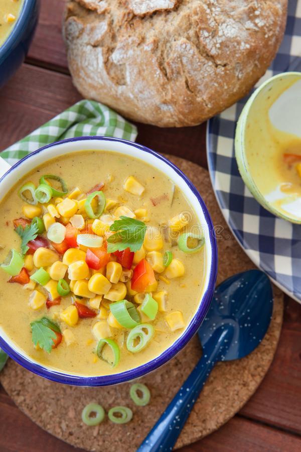 Corn Chowder Vegetarian  Colorful Ve arian Corn Chowder Stock Image of