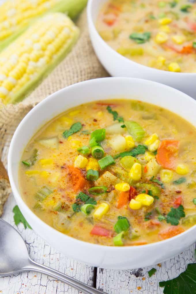 Corn Chowder Vegetarian  Vegan Corn Chowder with Potatoes Vegan Heaven