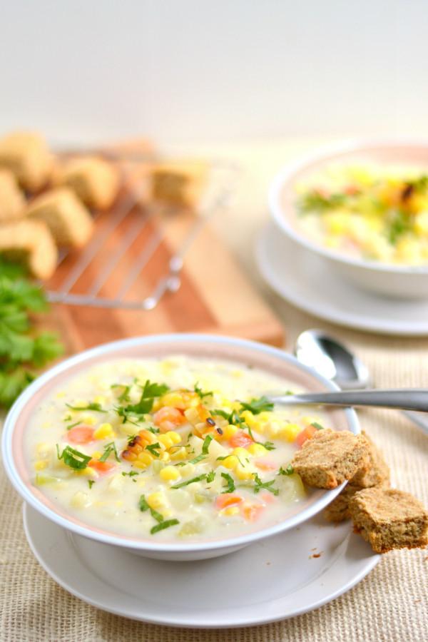 Corn Chowder Vegetarian  Creamy Ve arian Roasted Corn Chowder