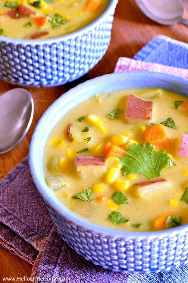 Corn Chowder Vegetarian  Easy Curried Corn Chowder with Coconut Milk