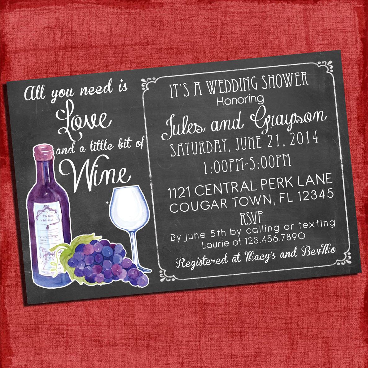 Couples Wedding Shower Ideas Themes  Printable Wine theme Couples Coed Wedding Shower Invitation I