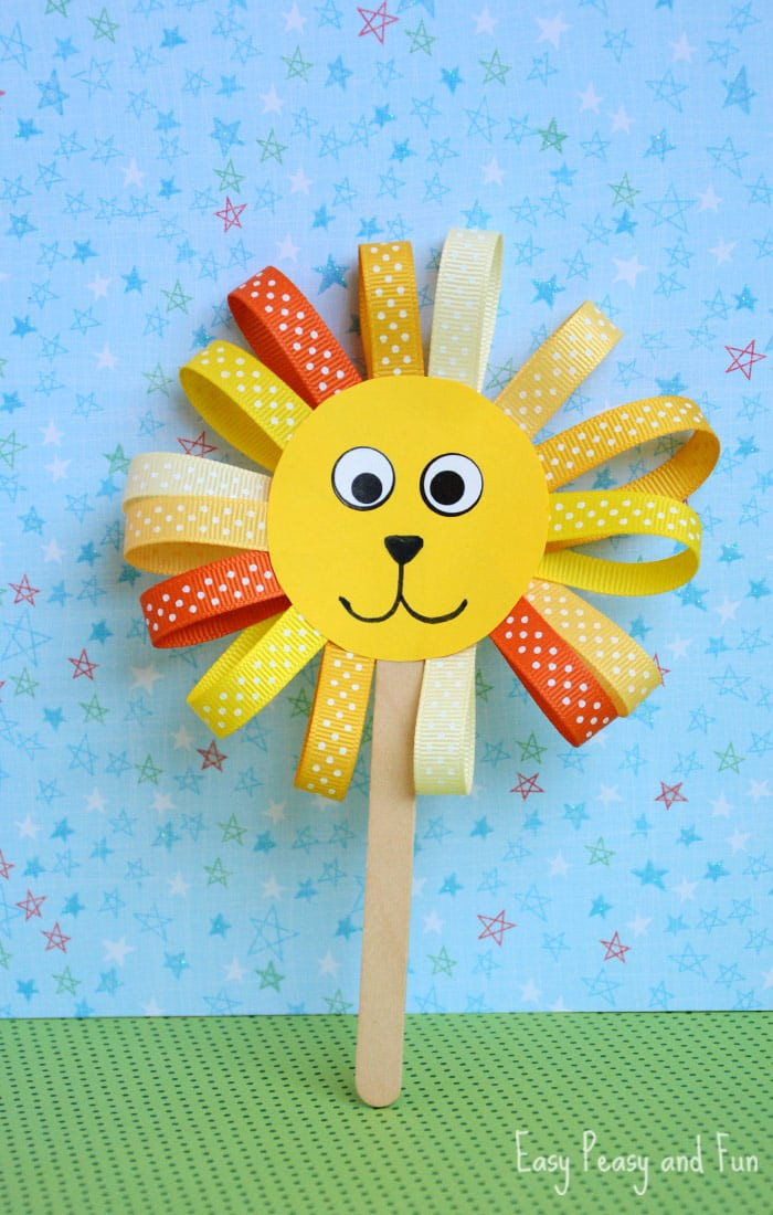 Crafts Ideas For Kids  Ribbon Lion Puppet Craft Lion Crafts for Kids Easy