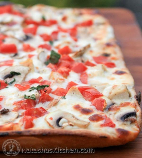 Creamy Garlic Pizza Sauce  Chicken Pizza with Creamy Garlic Sauce Natasha s Kitchen