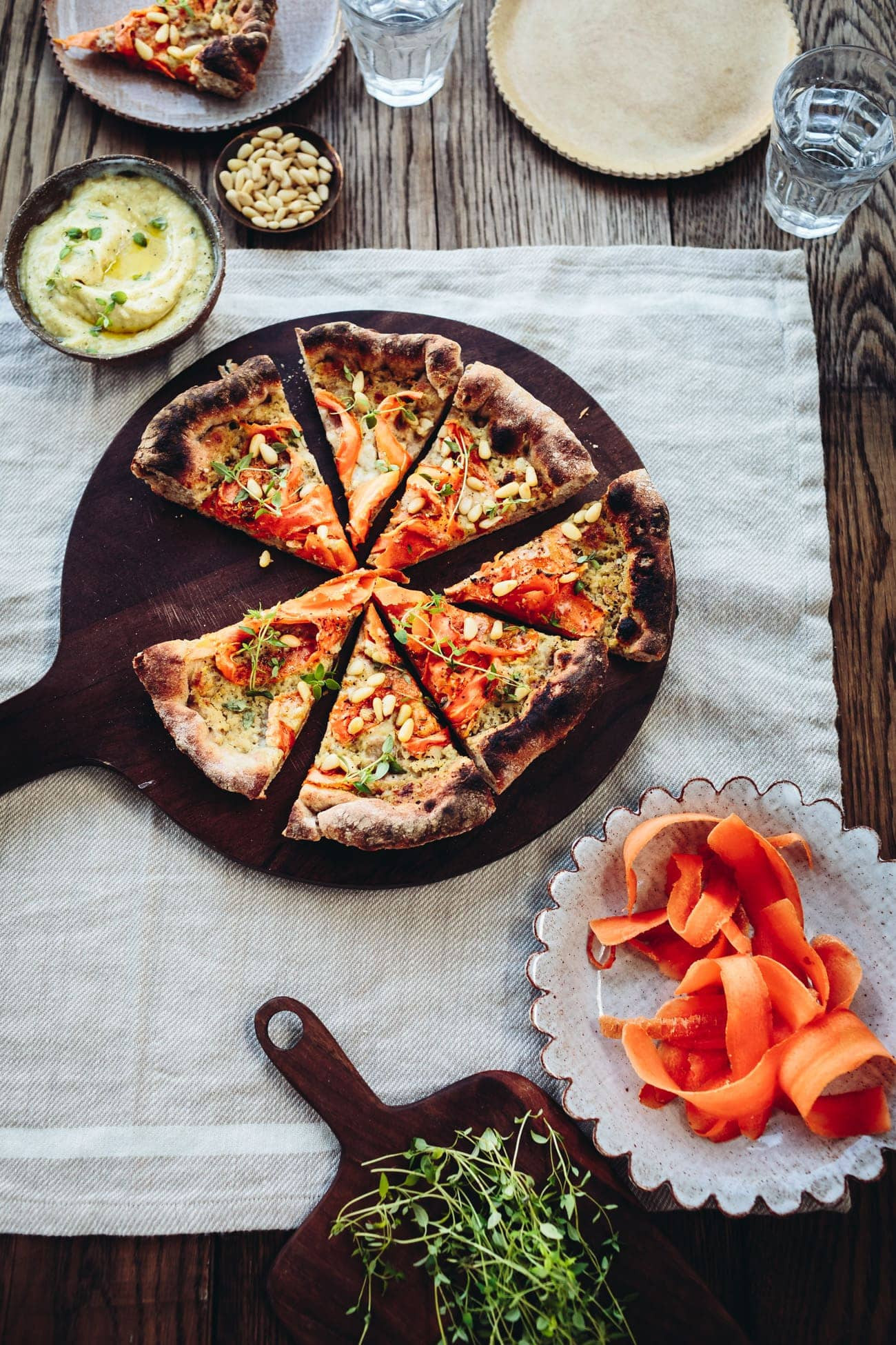 Creamy Garlic Pizza Sauce  Carrot Pine Nut & Parmesan Skillet Pizza with Creamy