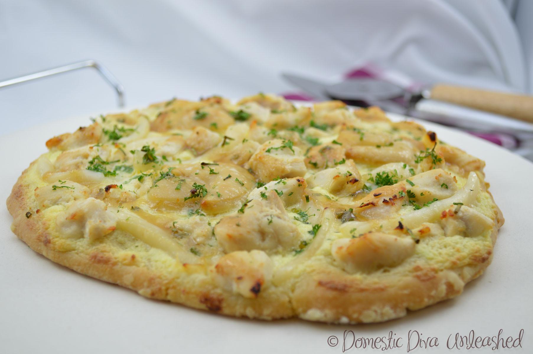 Creamy Garlic Pizza Sauce  Creamy Garlic Chicken and Seafood Pizza — Domestic Diva