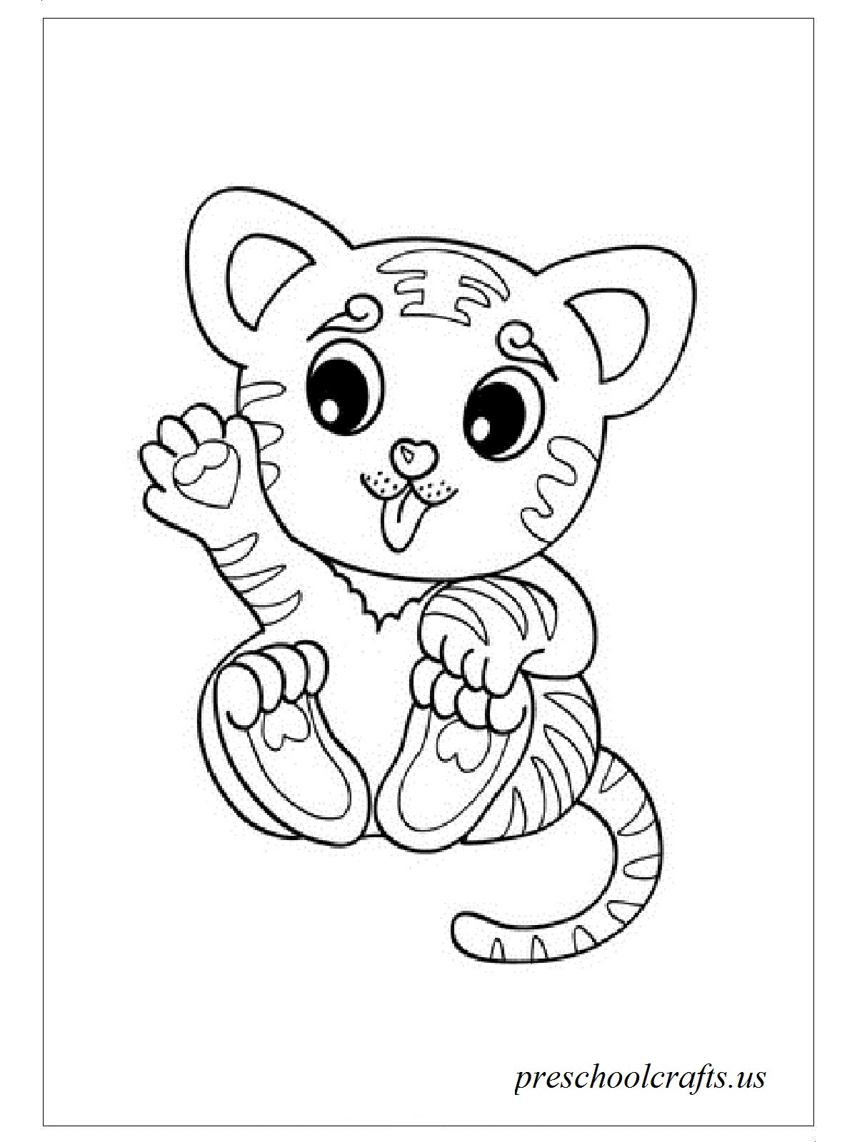 Cute Baby Tiger Coloring Pages  baby tiger coloring pages Preschool Crafts