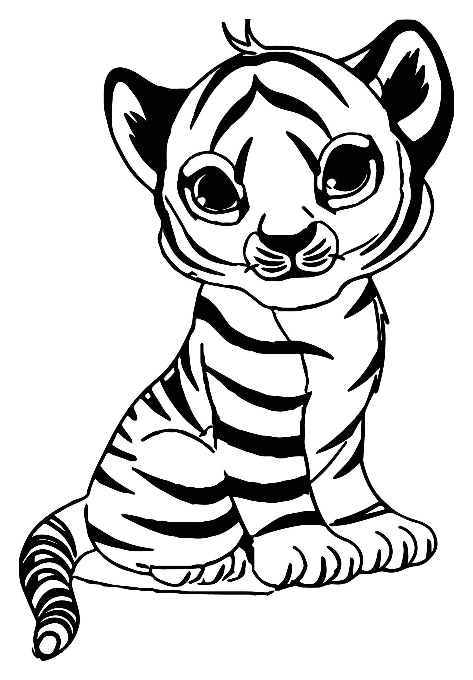 Cute Baby Tiger Coloring Pages  Tigers to print for free Tigers Kids Coloring Pages