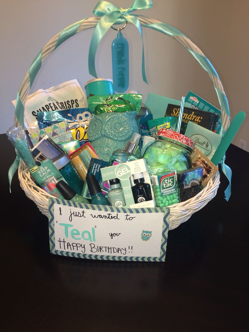 "Cute Gift Basket Ideas  Just wanted to ""TEAL"" you happy birthday Gift basket"