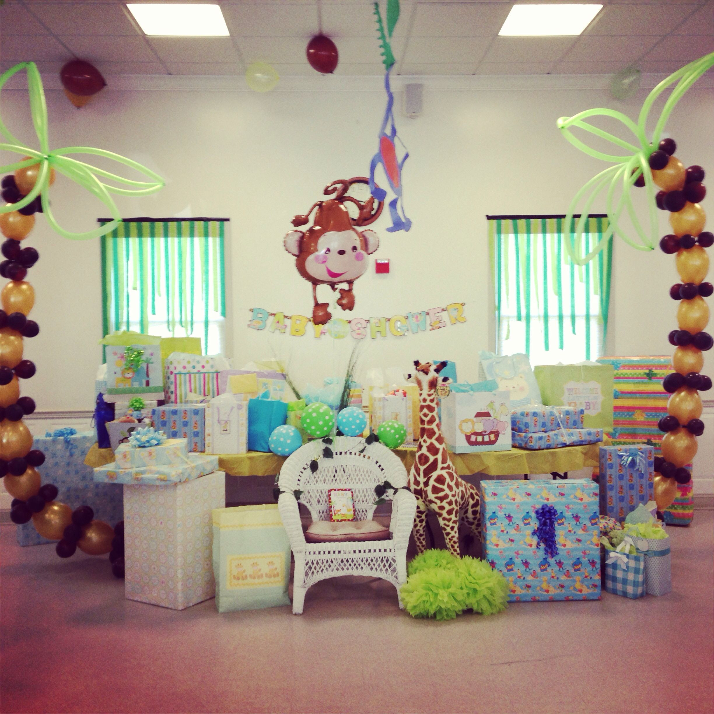 Decorating Ideas For Baby Shower Gift Table  Gift table jungle themed baby shower in 2019