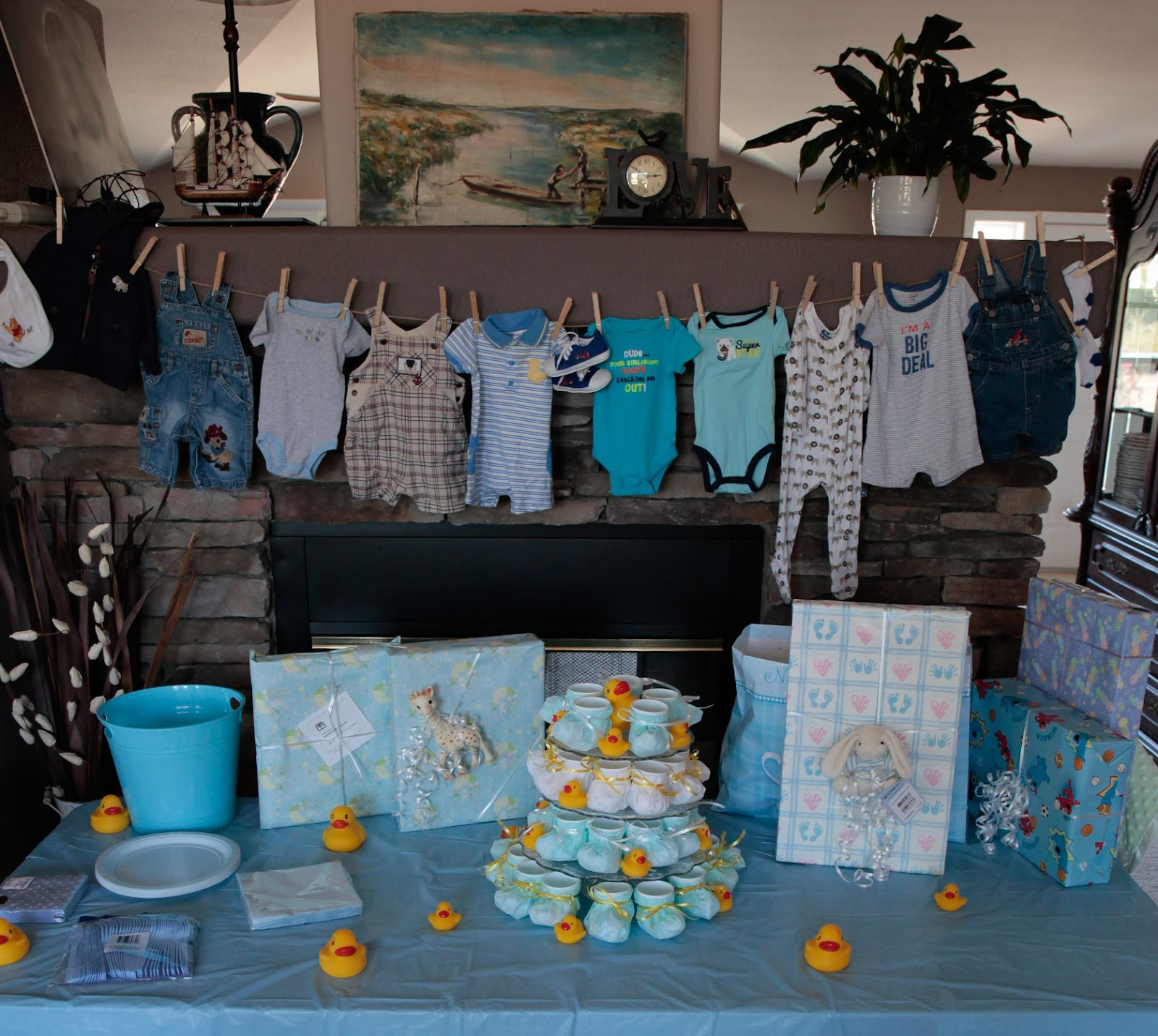 Decorating Ideas For Baby Shower Gift Table  Swiss Laundry Little Boy Blue Baby Shower Decorations