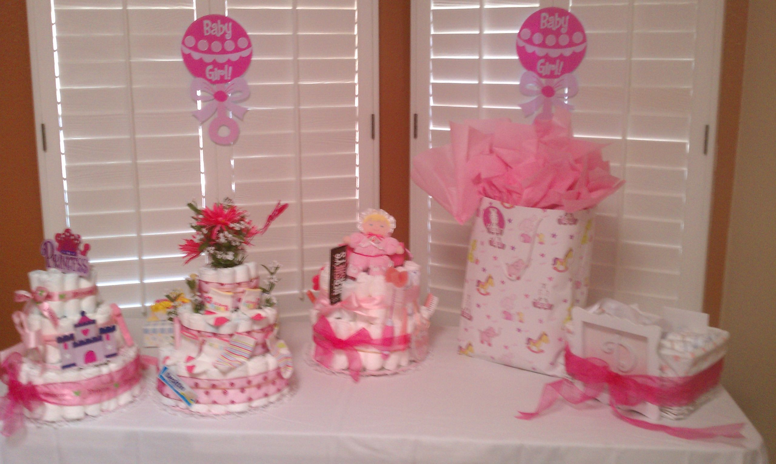 Decorating Ideas For Baby Shower Gift Table  Tables Chairs Pink Linens Baby Shower