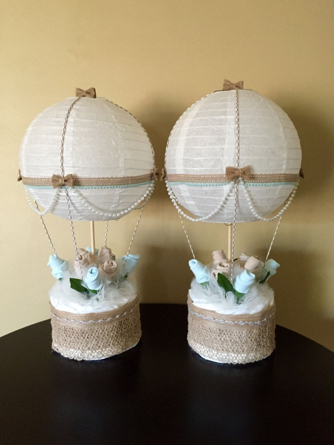 Decorating Ideas For Baby Shower Gift Table  Hot Air Balloon Baby Shower Table Centerpiece by