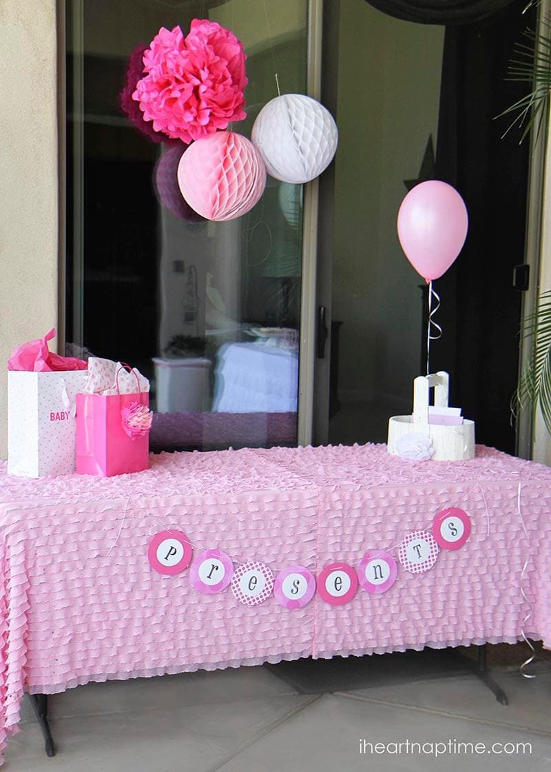 Decorating Ideas For Baby Shower Gift Table  Pink baby shower w printable baby shower games I Heart