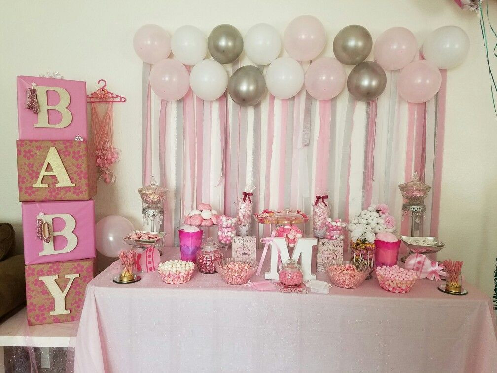 Decorating Ideas For Baby Shower Gift Table  Pink baby shower table based on ideas from Pintrest