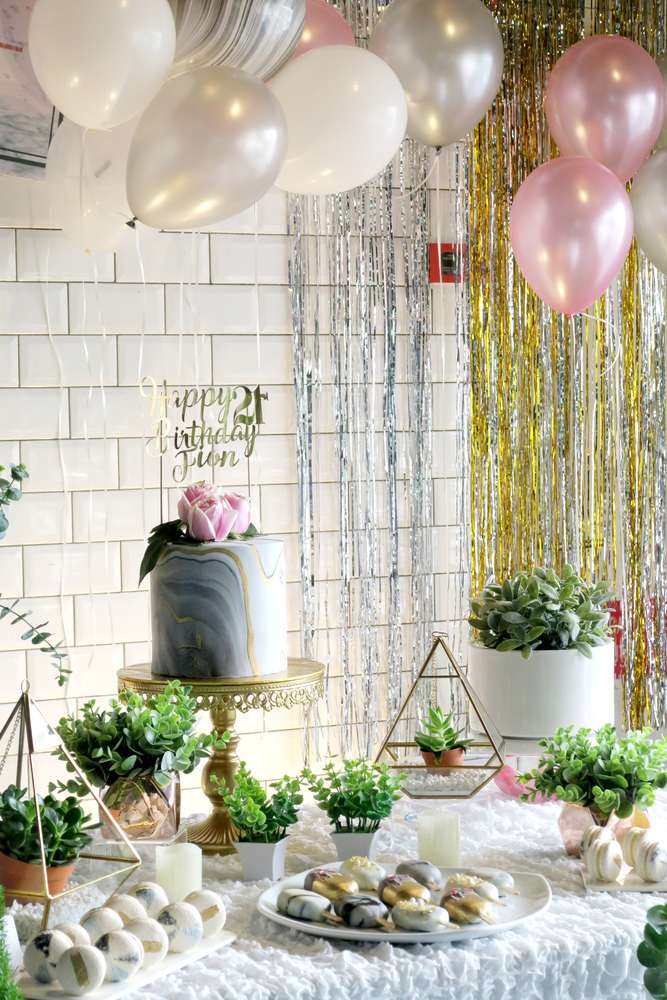 Decorations For A Birthday Party  Whimsical Marble Birthday Party Birthday Party Ideas