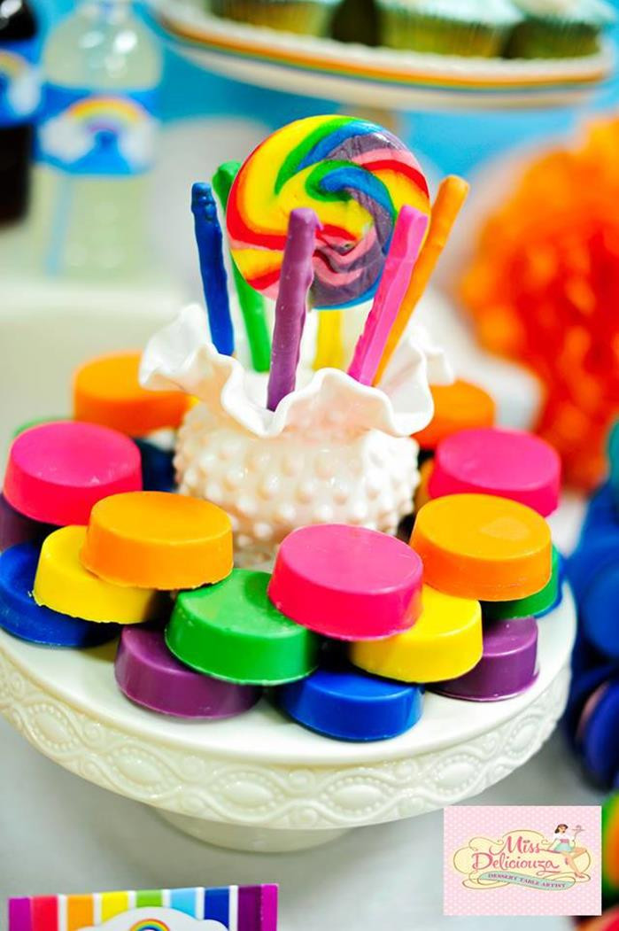 Decorations For A Birthday Party  Kara s Party Ideas Girly Rainbow Birthday Party Planning