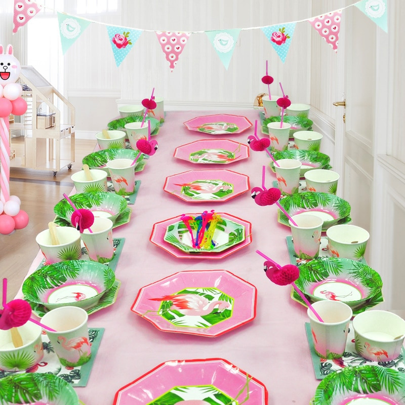 Decorations For A Birthday Party  91Pcs set Flamingo Disposable Tableware Set Tablecloth For