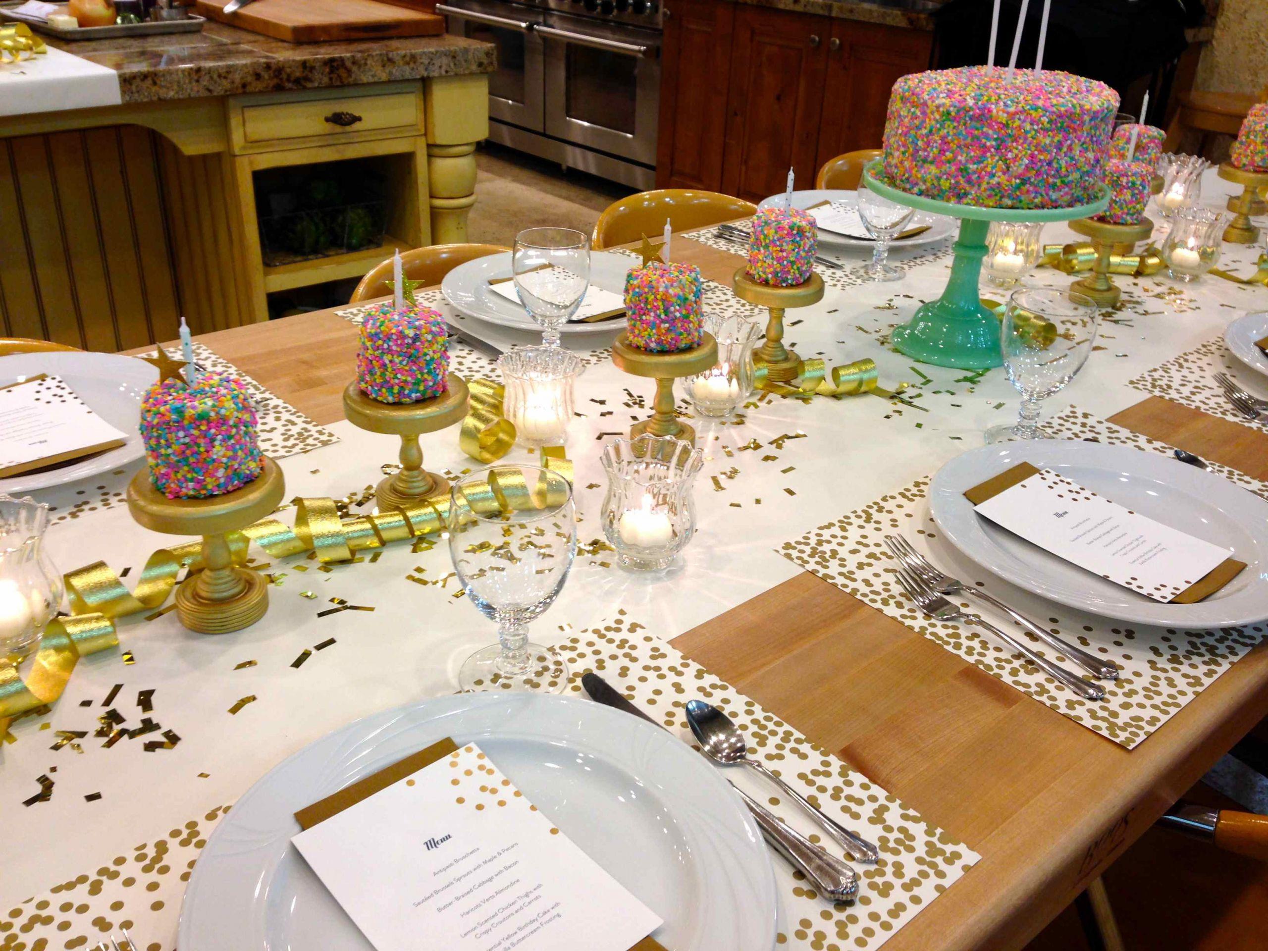 Dinner Party Table Ideas  Birthday Party Rainbow Sprinkles Table Setting