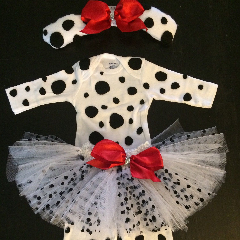 DIY Dalmatian Costume Baby  White and Black Polka Dot Tutu