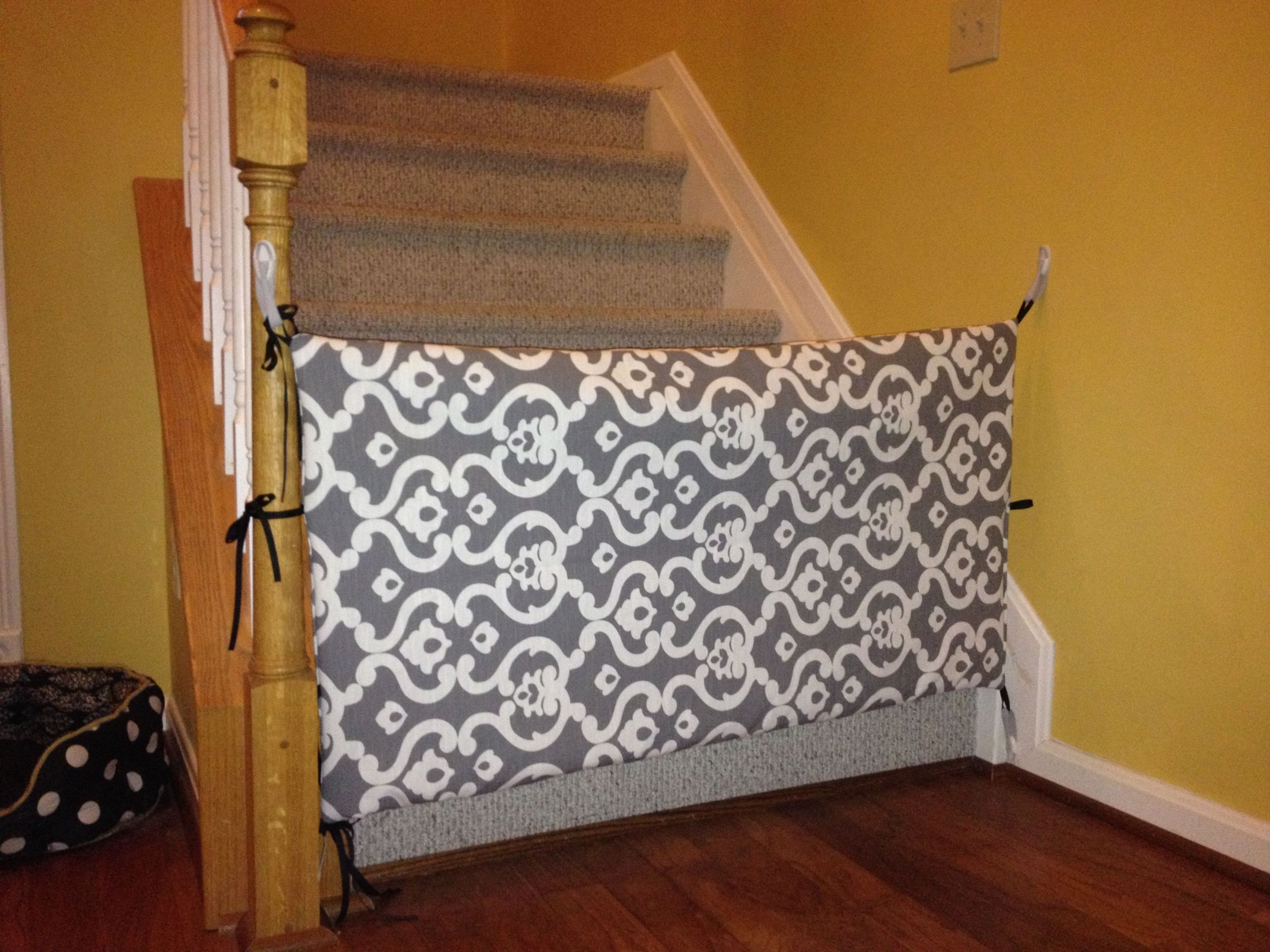 Diy Fabric Baby Gate  fabric gate for when Norah starts ting around Maybe