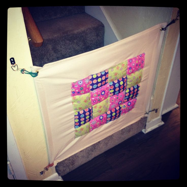 Diy Fabric Baby Gate  DIY baby gate fabric with large eyelets on hooks this