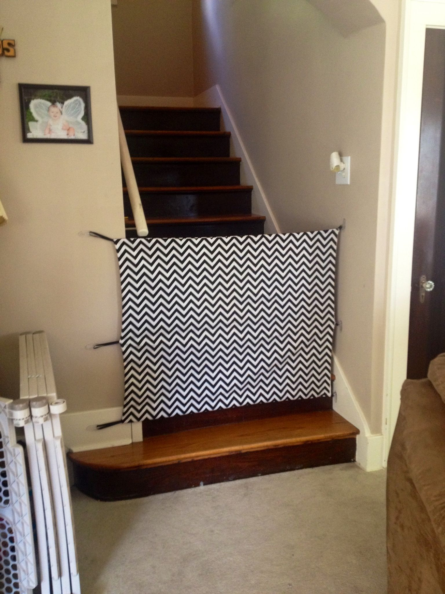 Diy Fabric Baby Gate  DIY fabric baby gate Cost around $30 total and it looks