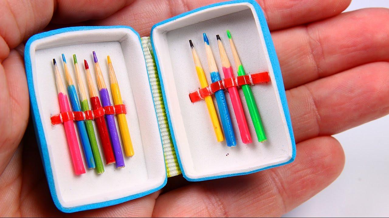 DIY Pencil Box  DIY Miniature Pencil Case & Colored Pencils
