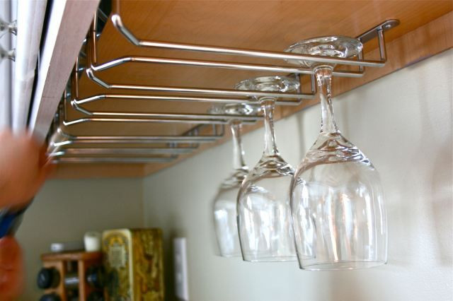 DIY Wine Glass Rack Under Cabinet  Top 25 ideas about Wine glass holders diy on Pinterest